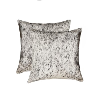 Graham Leather Throw Pillow Color: Gray/White