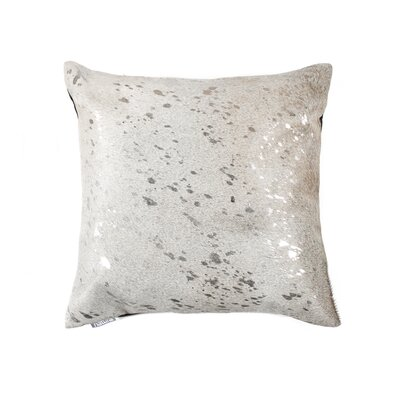 Graham Square Leather Throw Pillow Color: Gray/Silver