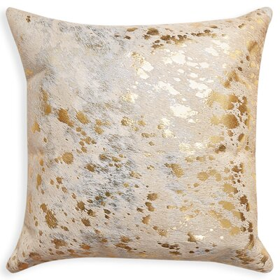 Graham Square Leather Throw Pillow Color: Natural/Gold