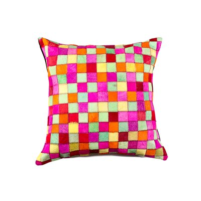 Graham Multipatch Leather Throw Pillow Color: Pink/Yellow