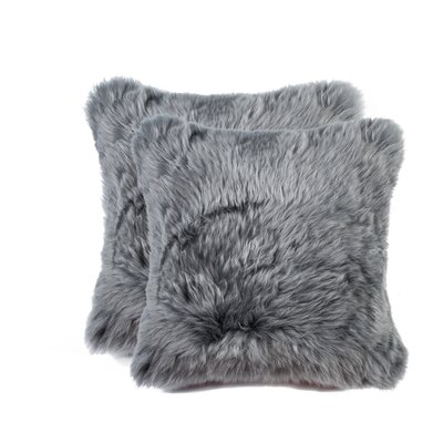 Gaston New Zealand Sheepskin Throw Pillow Color: Gray