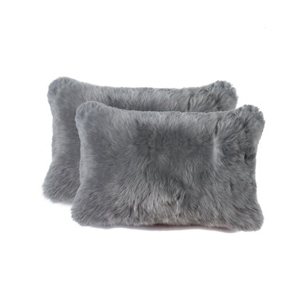 Nicola New Zealand Sheepskin Lumbar Pillow Color: Gray