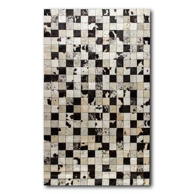 Aayush Four Square Patch Hand-Woven Cowhide Black/White Area Rug
