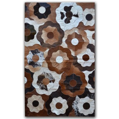 Creole Stitch Hand-Woven Cowhide Brown/Black Area Rug Rug Size: 5 x 8