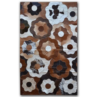 Creole Stitch Hand-Woven Cowhide Brown/Black Area Rug Rug Size: 8 x 10