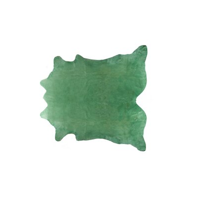 Plainsboro Hand-Woven Cowhide Light Green Area Rug