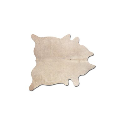 Plainsboro Hand-Woven Cowhide Natural Area Rug
