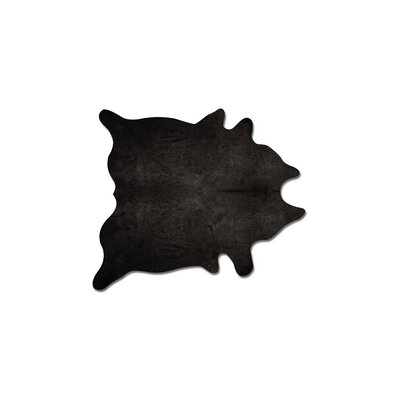 Plainsboro Hand-Woven Cowhide Black Area Rug