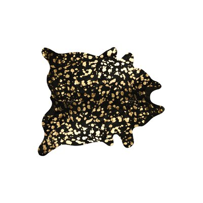 Houchin Hand-Woven Cowhide Black/Gold Area Rug� Rug Size: Novelty 6 x 7