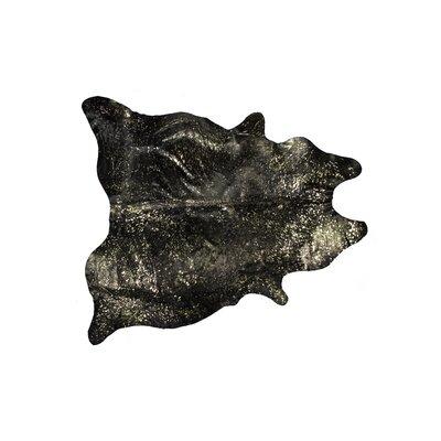 Houchin Hand-Woven Cowhide Chocolate/Gold Area Rug