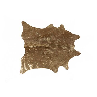 Houchin Hand-Woven Cowhide Tan/Gold Area Rug