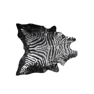 Grady Hand-Woven Cowhide Zebra Silver/Black Area Rug