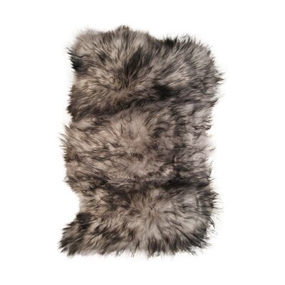 Crissom Hand-Woven Sheepskin Gray Area Rug