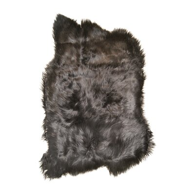 Curameng Hand-Woven Sheepskin Black Brown Area Rug