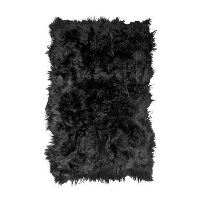 Roma Hand-Woven Sheepskin Blacky Brown Area Rug