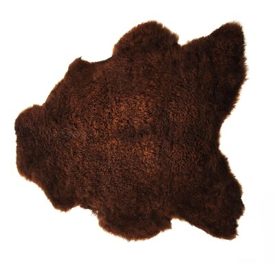 Danbrook Sheared Hand-Woven Sheepskin Rusty Brown Area Rug