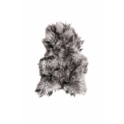 Alexis Long-Haired Hand-Woven Sheepskin Gray Area Rug