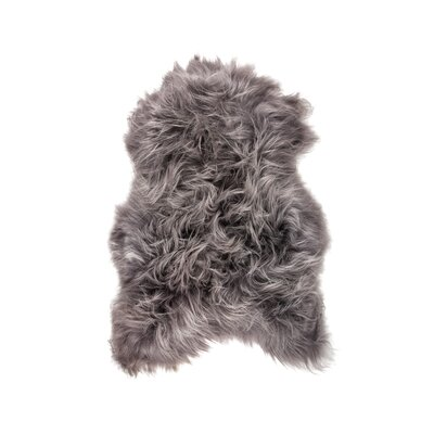 Algernon Long-Haired Hand-Woven Sheepskin Gray Area Rug