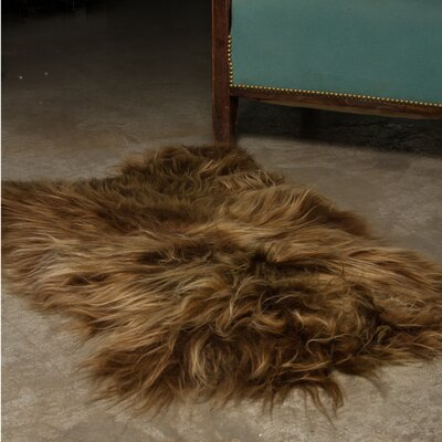 Archibald Long-Haired Hand-Woven Sheepskin Chestnut Area Rug