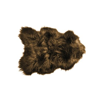 Aubrey Long-Haired Hand-Woven Sheepskin Brown Area Rug