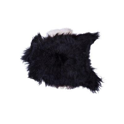 Barnaby Long-Haired Hand-Woven Sheepskin Black/White Area Rug