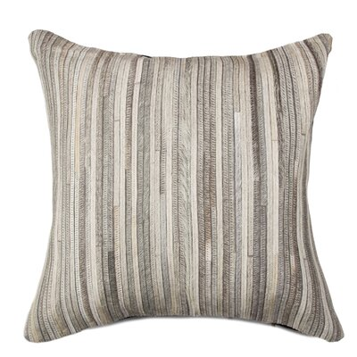 Graham Hand-Woven Leather Throw Pillow Color: Gray