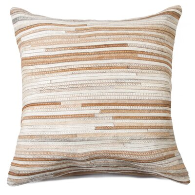 Graham Hand-Woven Leather Throw Pillow Color: Beige
