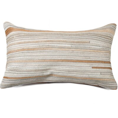 Graham Hand-Woven Cowhide Lumbar Pillow Color: Beige