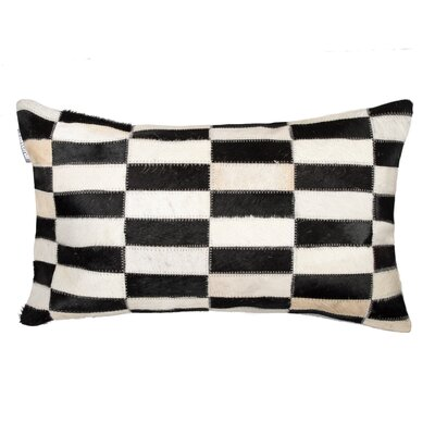 Graham Geometric Cowhide Lumbar Pillow Color: Black/White