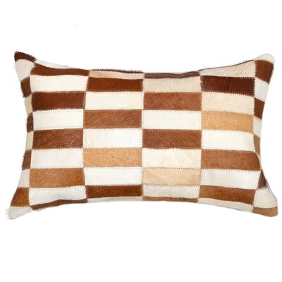Graham Leather Lumbar Pillow Color: Brown/White