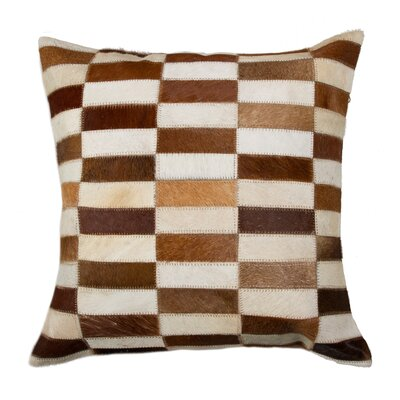 Graham Geometric Cowhide Throw Pillow Color: Brown/White