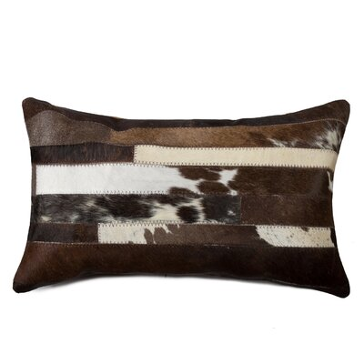 Graham Leather Lumbar Pillow Color: Chocolate/White
