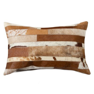 Graham Solid Cowhide Lumbar Pillow Color: Brown/White