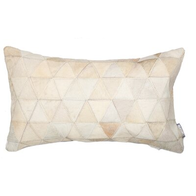 Graham Mosaik Leather Lumbar Pillow Color: Beige
