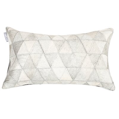 Graham Mosaik Leather Lumbar Pillow Color: White