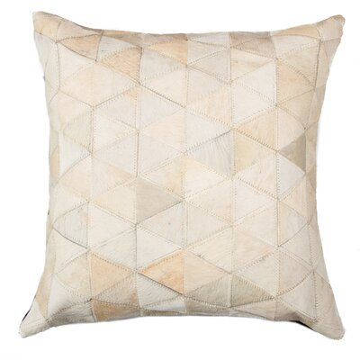 Graham Mosaik Cowhide Throw Pillow Color: Beige