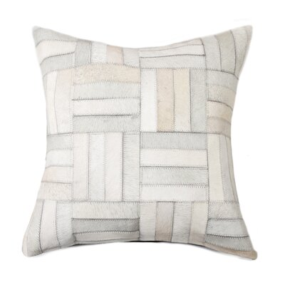 Graham Parquet Cowhide Throw Pillow Color: White