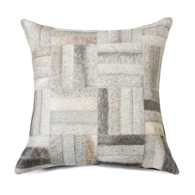 Graham Parquet Cowhide Throw Pillow Color: Gray