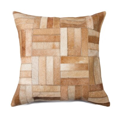 Graham Parquet Cowhide Throw Pillow Color: Tan
