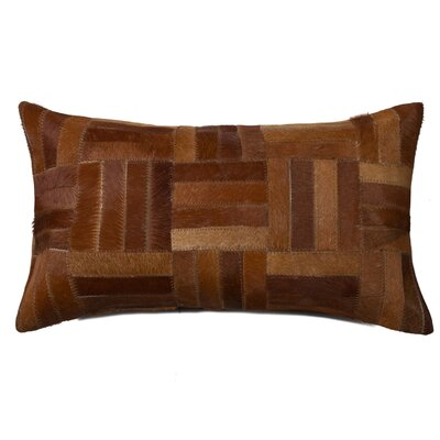 Graham Parquet Leather Lumbar Pillow Color: Tan