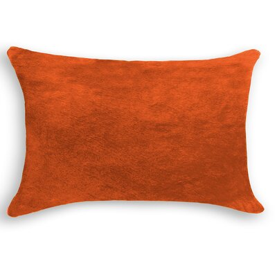 Graham Zipper Closure 100% Cowhide Lumbar Pillow Color: Orange