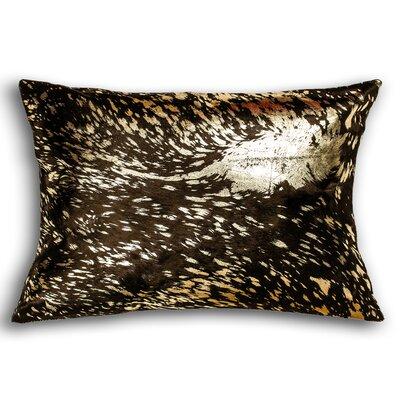 Graham Leather Lumbar Pillow Color: Chocolate/Gold