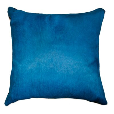 Ruddell Leather Cowhide Throw Pillow Color: Royal Blue