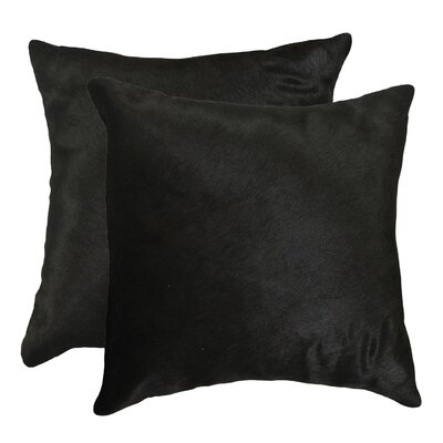 Graham Modern Square Hand Woven Cowhide Throw Pillow Color: Black