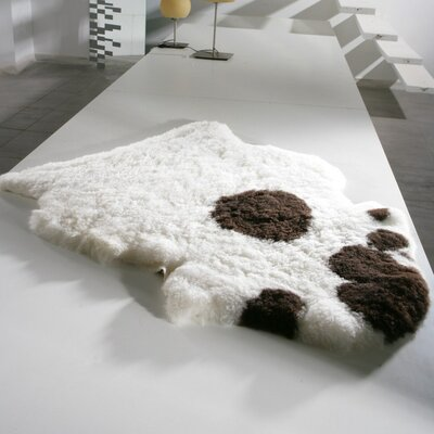Dalea Sheared Hand-Woven Sheepskin White/Black Area Rug