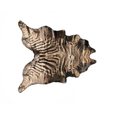 Grady Hand-Woven Cowhide Zebra Black/Gold Area Rug