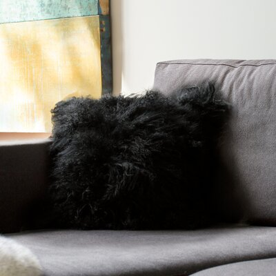 Mel Mongolian Sheepskin Throw Pillow Color: Black