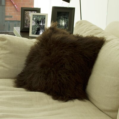 Mel Mongolian Sheepskin Throw Pillow Color: Chocolate