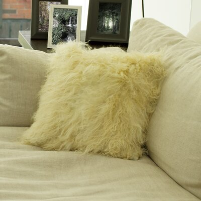 Mel Mongolian Sheepskin Throw Pillow Color: Natural