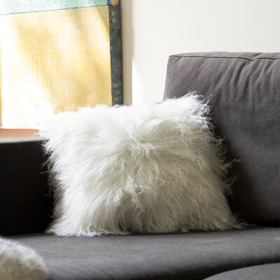 Mel Mongolian Sheepskin Throw Pillow Color: White